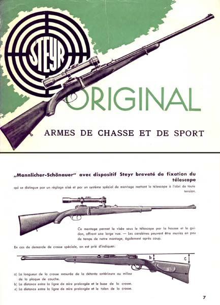 Steyr-Mannlicher Schoenauer Repeating Sporting Carbine - c1957 (in French-Catalog)