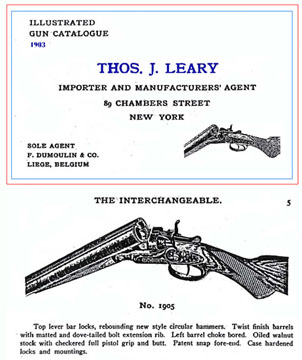 Thos. J. Leary Co. (New York) Gun Importers 1903 Catalog