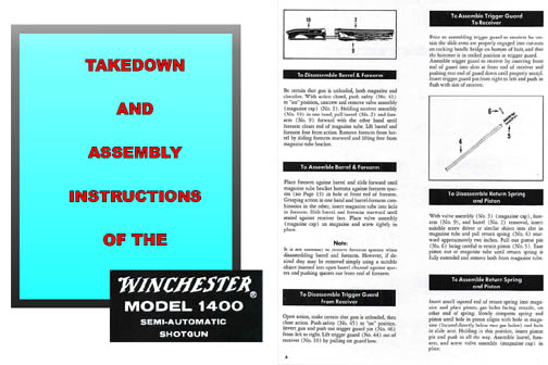 Winchester Model 1400 (1400 MkII and 1500XTR) Takedown Manual