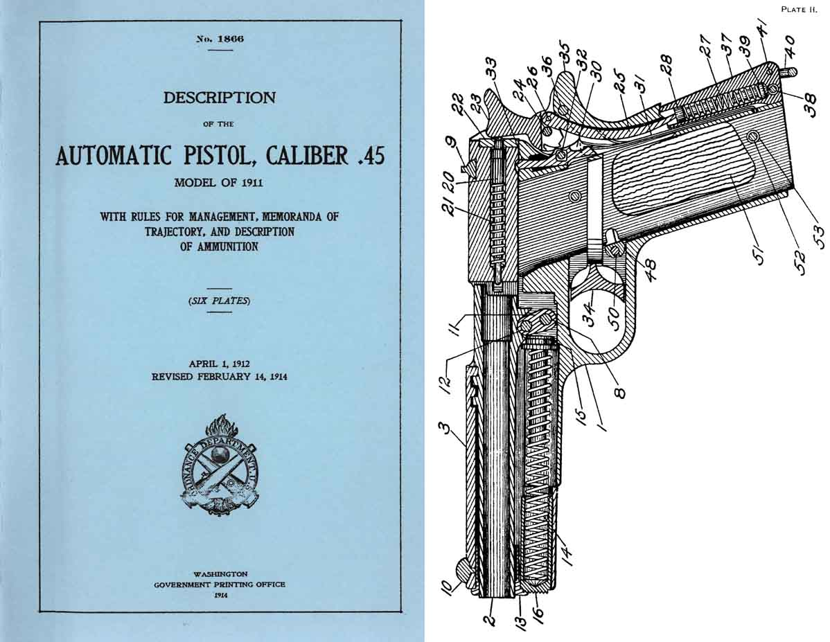 Description of the Automatic Pistol, M1911 Cal .45 1912 rev 1914 print GPO- Manual