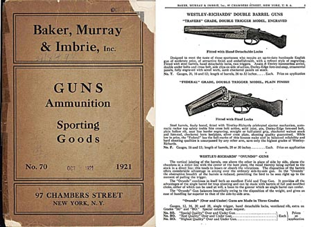Baker, Murray & Imbrie 1921 Guns Catalog, New York, NY