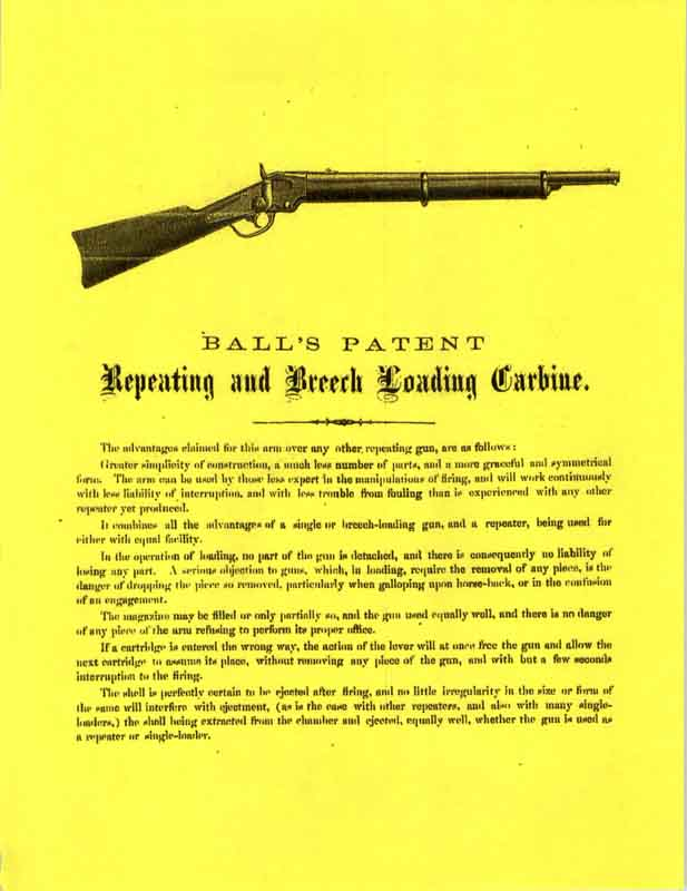 Ball's Patent Carbine Flyer 1865 Manual