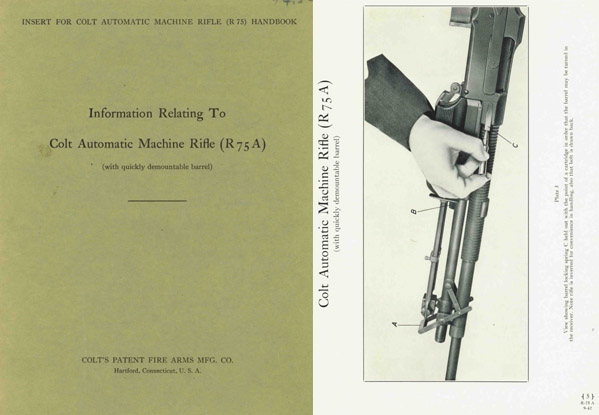 Browning 1942 Automatic Rifle 1918A2 Colt R75A Supplement- Manual