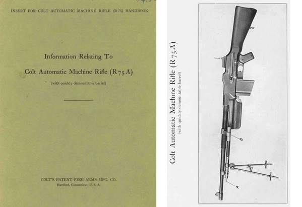 Browning 1942 Automatic Rifle 1918A2 Colt R75A Parts & Tools Manual