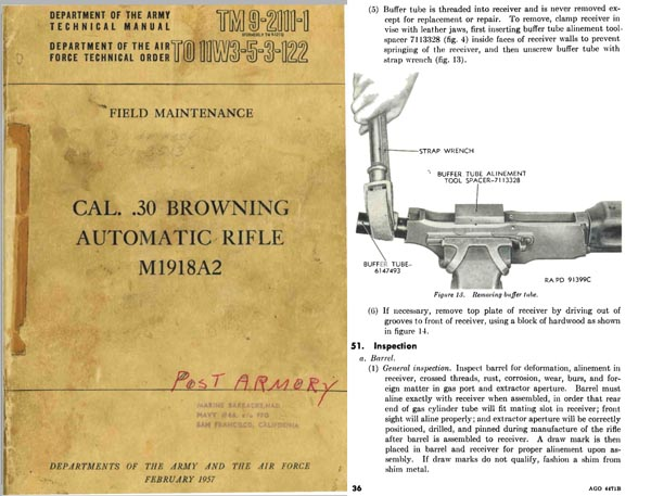 Browning 1957 Automatic Rifle M1918A2 Field Maintenance TM9-2111-1