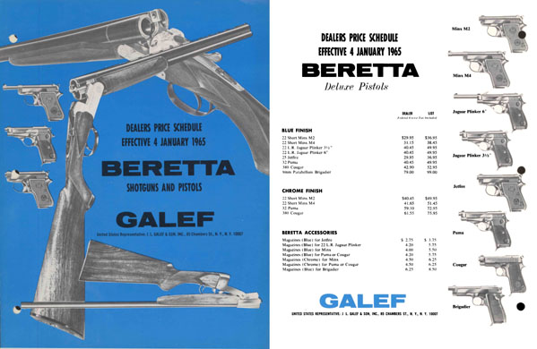 Beretta 1965 Shotguns and Pistols- Galef, US Dist.