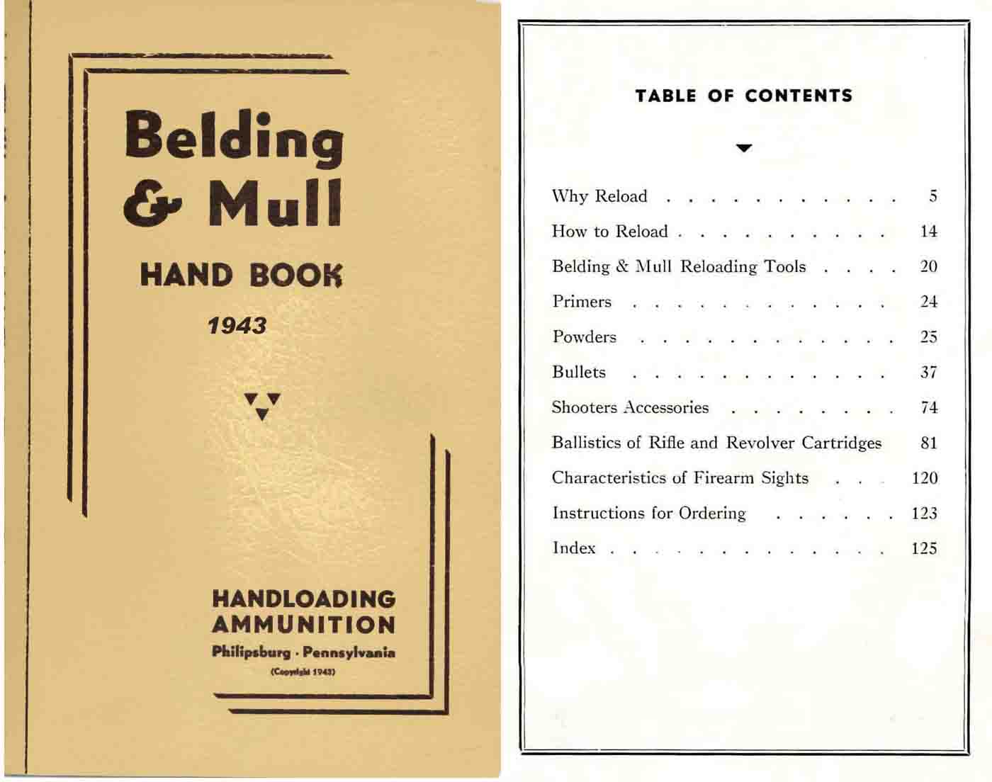 Belding & Mull Sights and Reloading 1943 Catalog