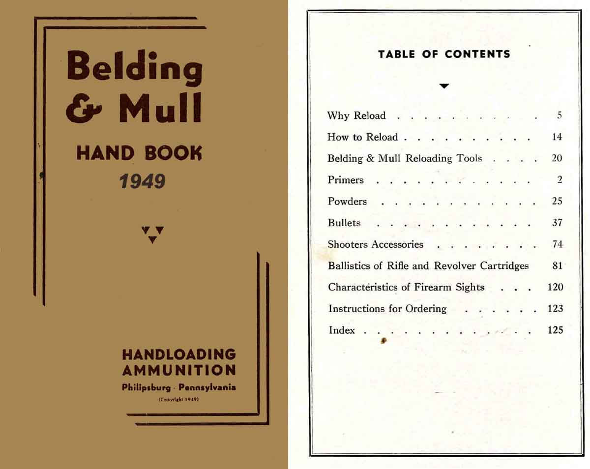 Belding & Mull 1949 Sights and Reloading Catalog
