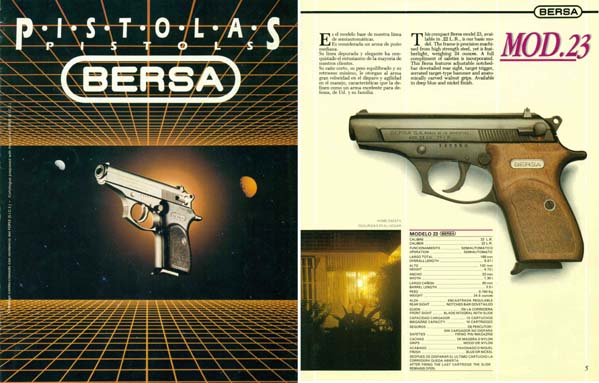 Bersa Pistols - 1988 Pistolas Gun Catalog- English and Spanish