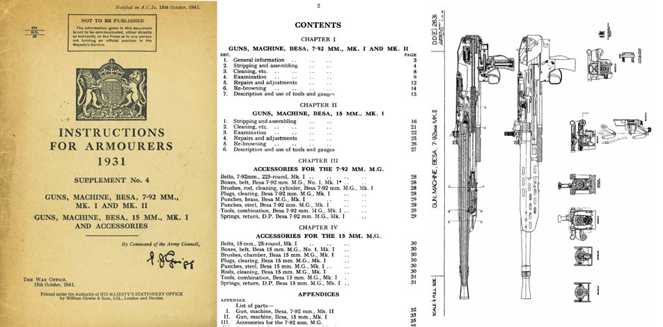 Besa Machine Gun 1931-41 Instructions for Armorers 8mm & 15mm -Manual