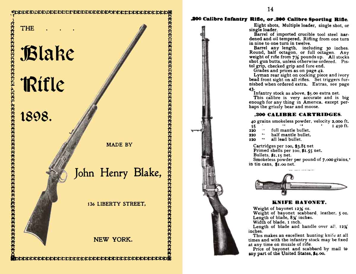 Blake Rifle 1898 Catalog/Manual by John Henry Blake