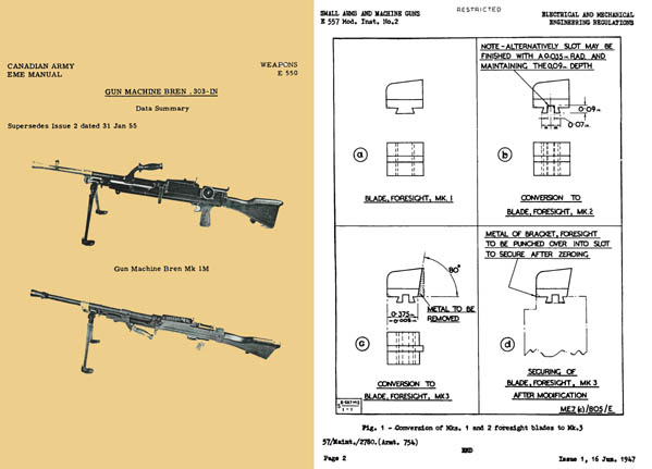 Bren 1955 .303 Light Machine Gun Armourer's Manual (Canadian)