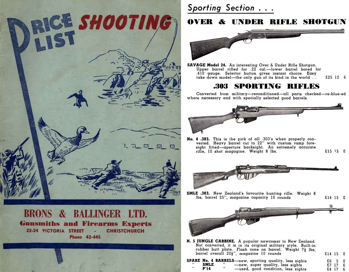 Brons & Ballinger c1960 Guns & Accessories, New Zealand