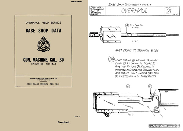 Browning 1943 M1917A1 .30cal MG Base Shop Data- Manual