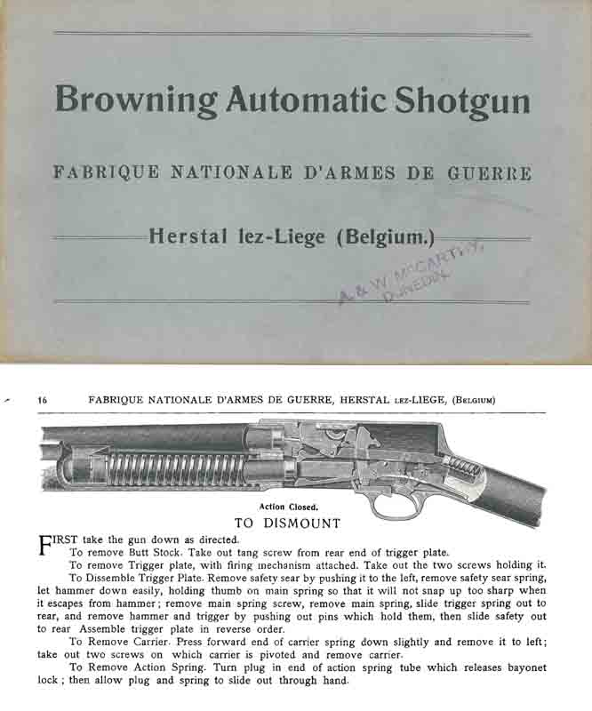 Browning c1903 FN Automatic Shotguns Manual-Catalog
