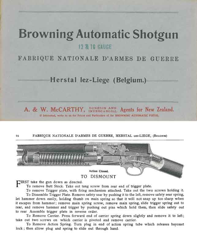 Browning c1906 FN Automatic Shotguns Manual-Catalog