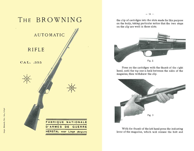 Browning c1930 FN Automatic Rifle .355 Cal. Manual