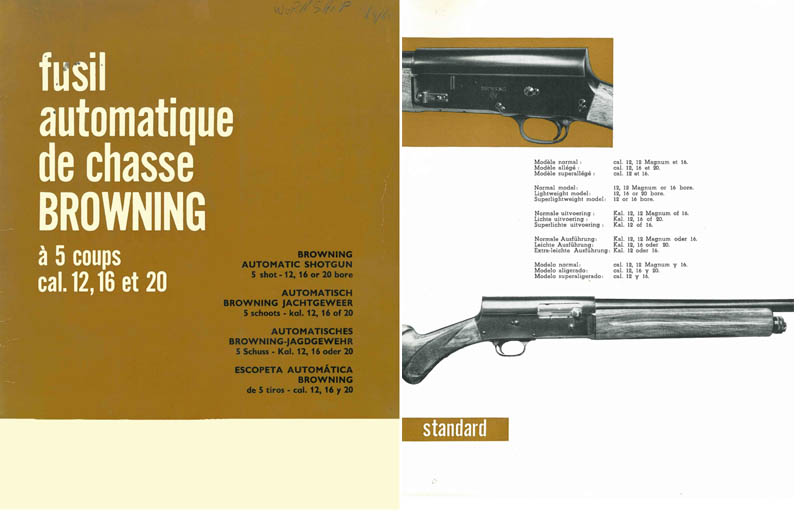 Browning c1961 FN Automatic Shotgun Grades Catalog