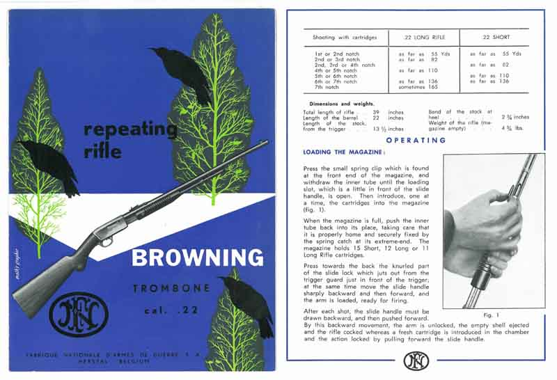 Browning c1950s FN Trombone Rifle .22 Manual-Catalog