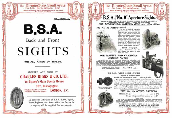 B.S.A. 1914 Front and Back Sights Catalog
