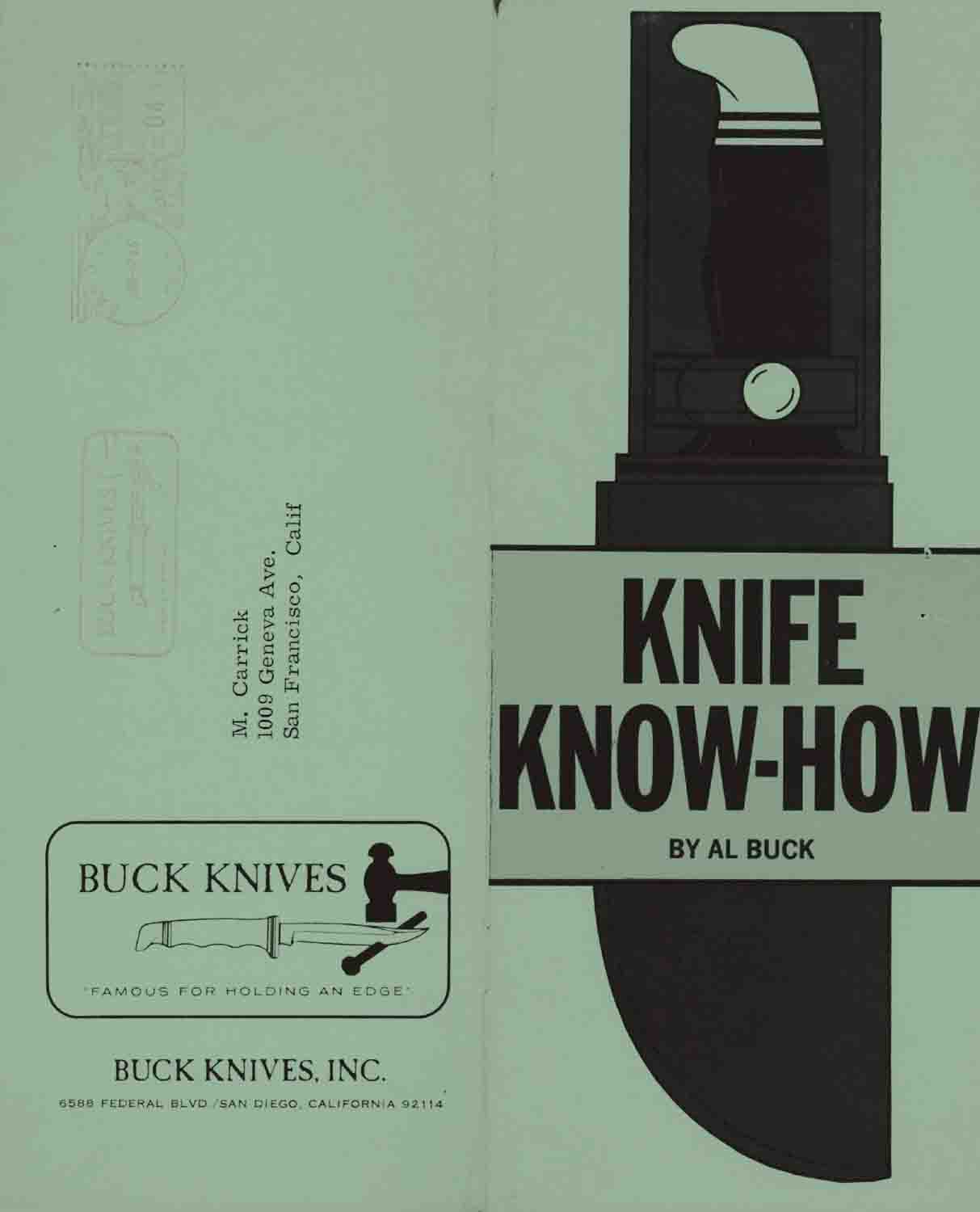 Knife Know-How by Al Buck 1966 San Diego, California