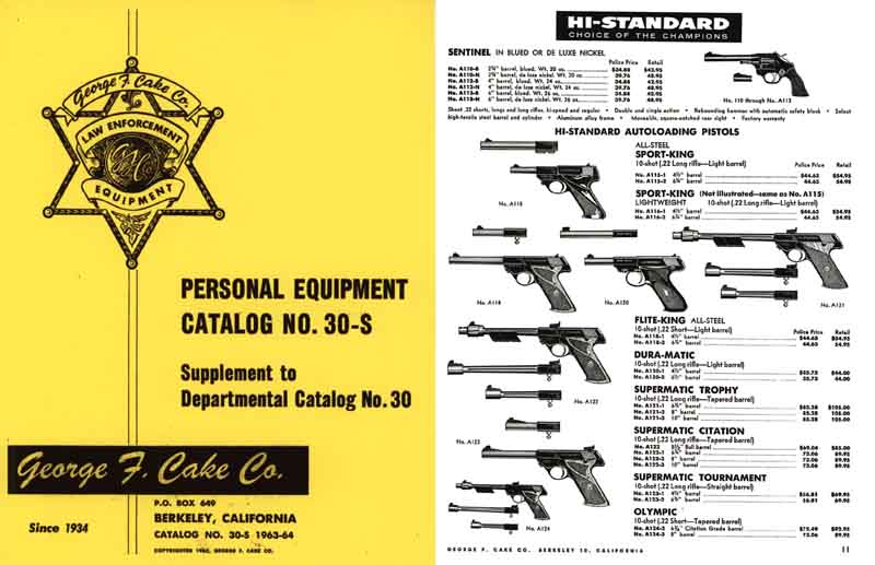 Law Enforcement Equipment - George F. Cake 1963-64 Catalog