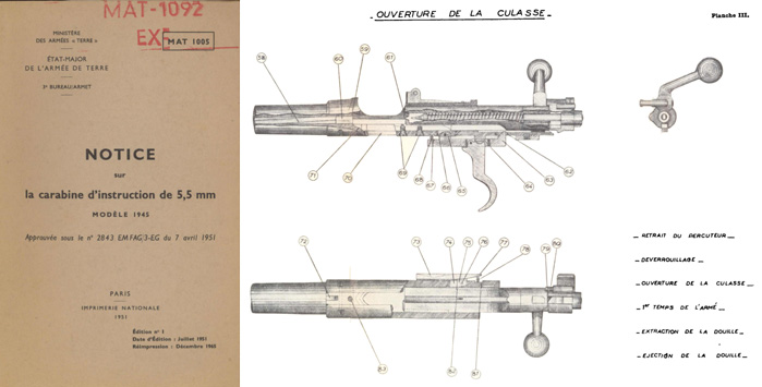 la carabine d'instruction de 5,5mm MODELE 1945, Paris, FR.- Manual