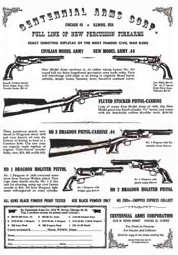 Centennial Replica Arms Corporation 1961 Catalog