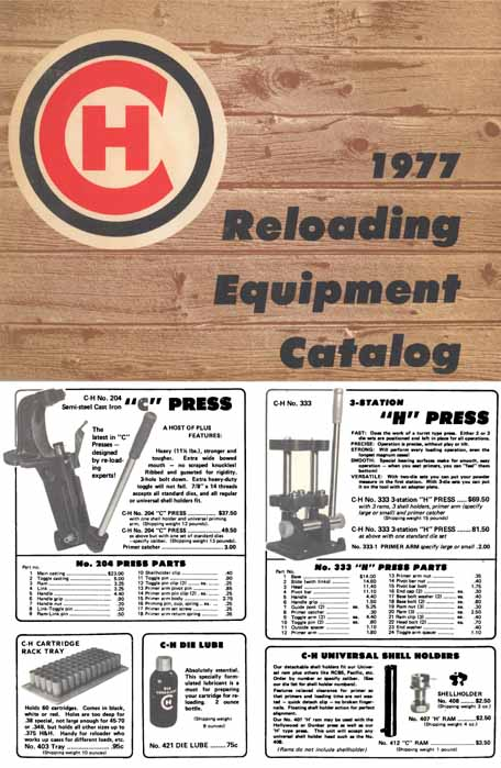 C-H Tool and Die 1977 Reloading Equipment Catalog