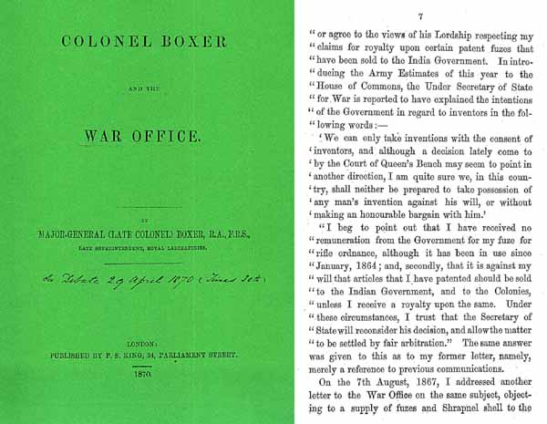 Colonel Boxer and the War Office Debate April 1870