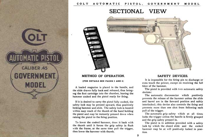 Colt c1923 .45 Government Automatic Pistol Manual