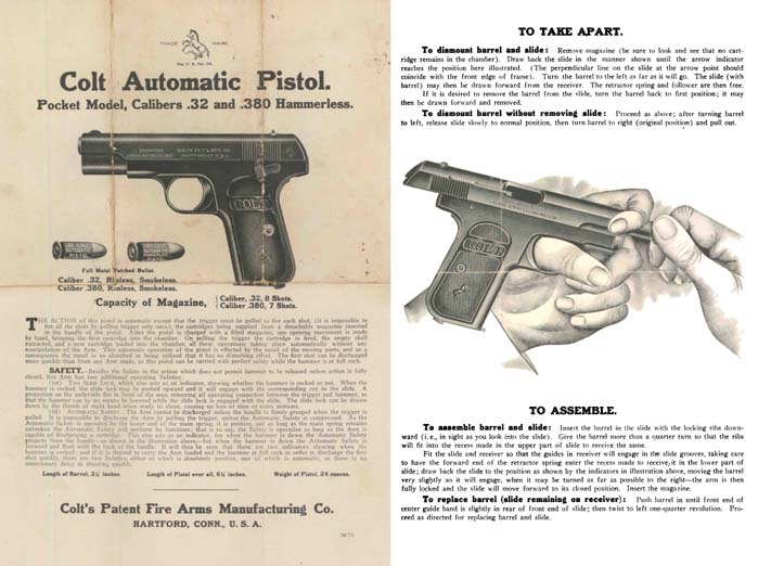Colt c1925 Automatic Pistol .32 and .380 Manual