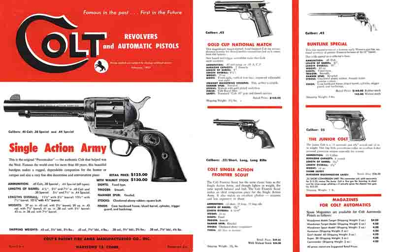 Colt 1957 Revolvers and Pistols w/Prices