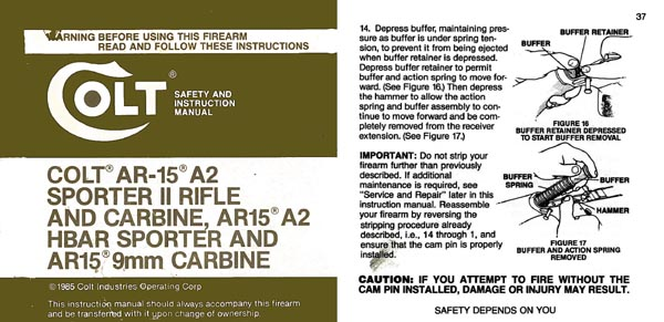 Colt 1985 Manual for AR 15A-2
