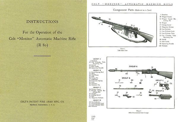 Colt Monitor Machine Rifle R80 Manual c1936