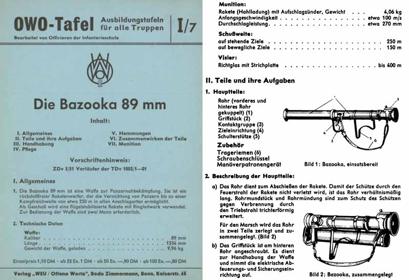 Die Bazooka 89mm c1960 German Manual