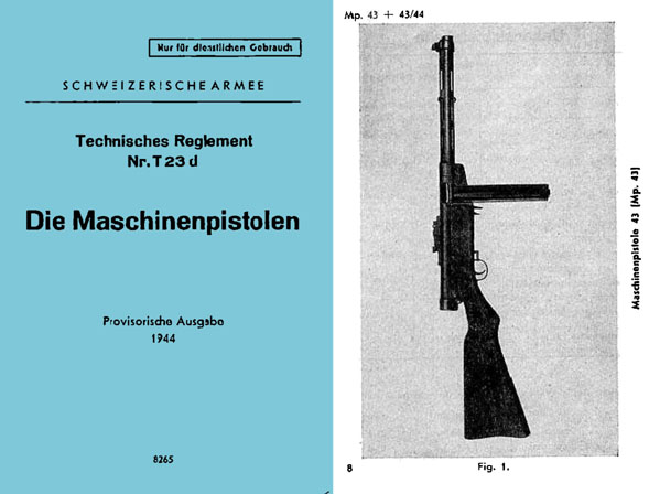 Die Machinenpistolen MP43/44 1944 Manual (Swiss Army)