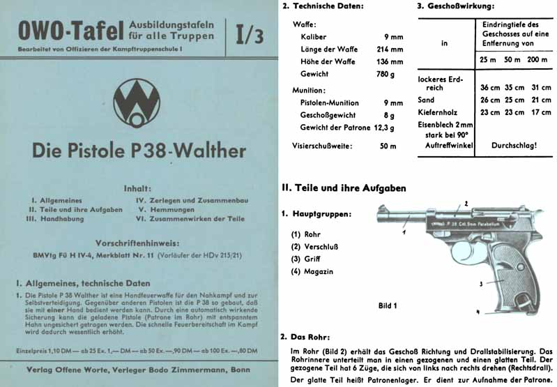 Die Pistole P38-Walther c1960 German Manual