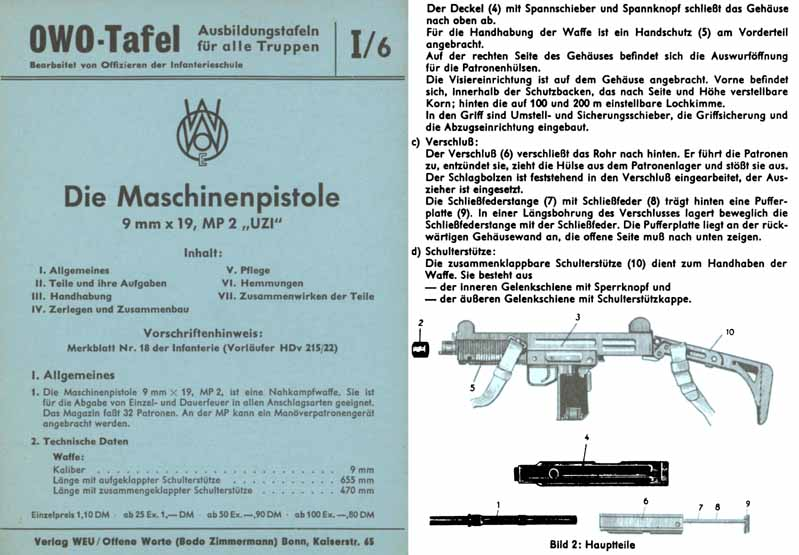 Uzi 9mm- Die Maschinepistole- c1960 German Manual