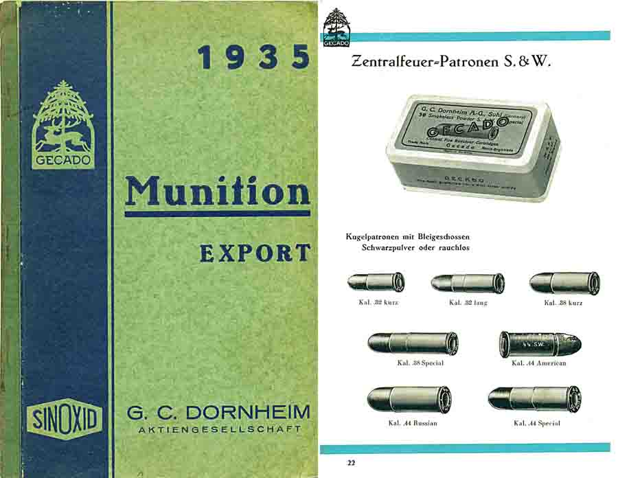 G.C. Dornheim 1935 Munitions Export Preisliste, Hamburg, Germany