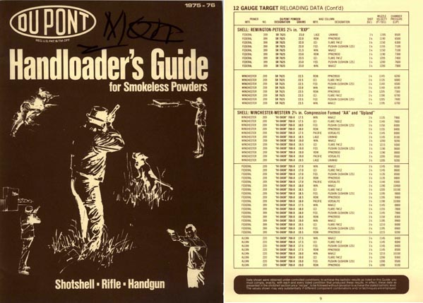 Dupont 1975-76 Handloader's Guide- Smokeless Powder