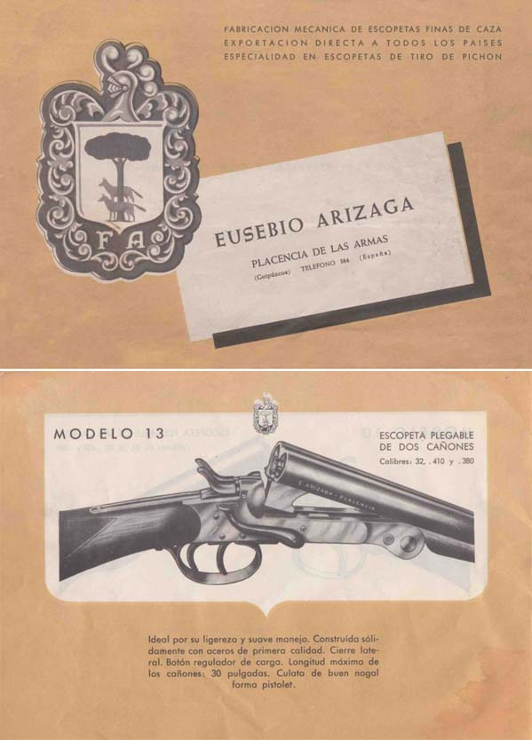 Eusebio Arizage c1955 Guns Catalog (Spain)