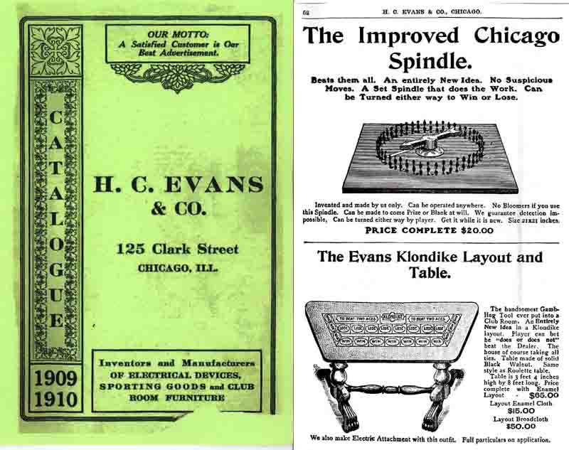 Evans Gaming Company 1909-1910 Cheating Equipment (Illinois)