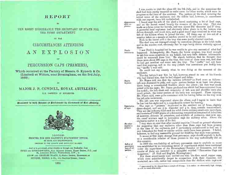 Report on the Circumstances Attending an 1888 Explosion at Kynoch & Co