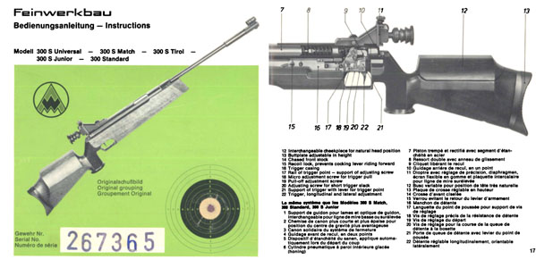 Feinwerkbau Modell 300 S etc Air Rifle Manual