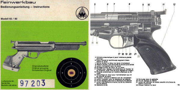 Feinwerkbau Modell 65  80 Air Pistol Manual