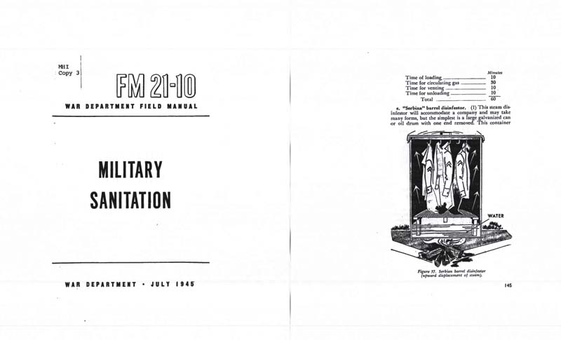 FM 21-10 1945 Military Sanitation, First Aid, Disease, Water, Waste, Insects etc
