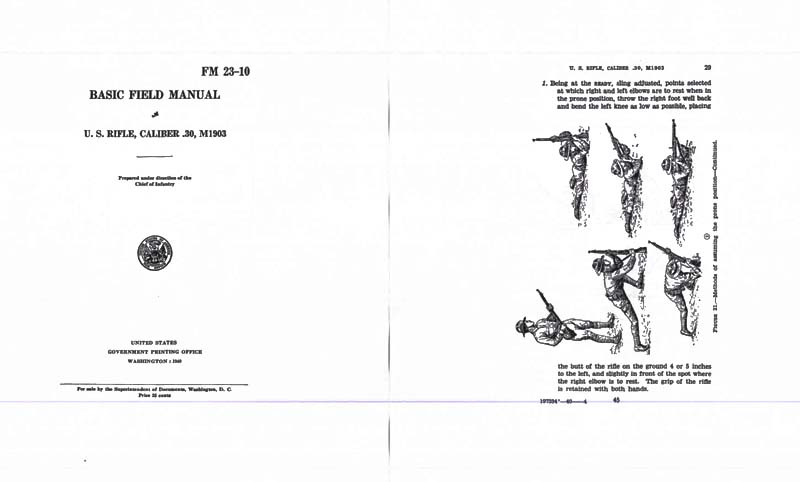 FM 23-10 1940 U.S. Rifle, Cal .30 M1903 (Springfield) Basic Field Manual