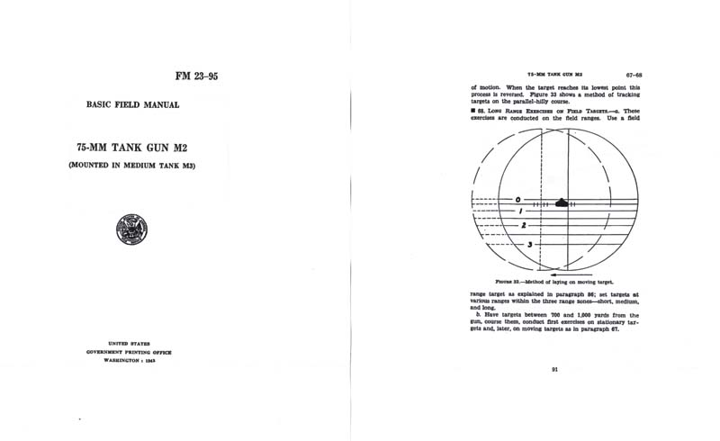 FM 23-95 1942 75MM Tank Gun M2 Basic Field Manual