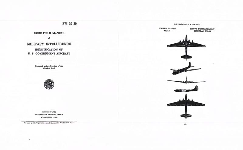 FM 30-30 1942 Identification of US Government Aircraft